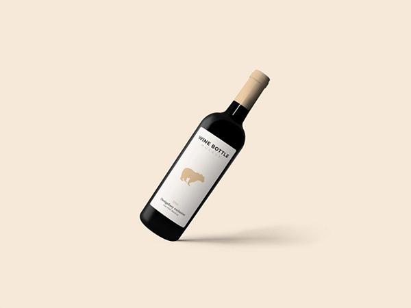 Floating Wine Bottle Mockup PSD